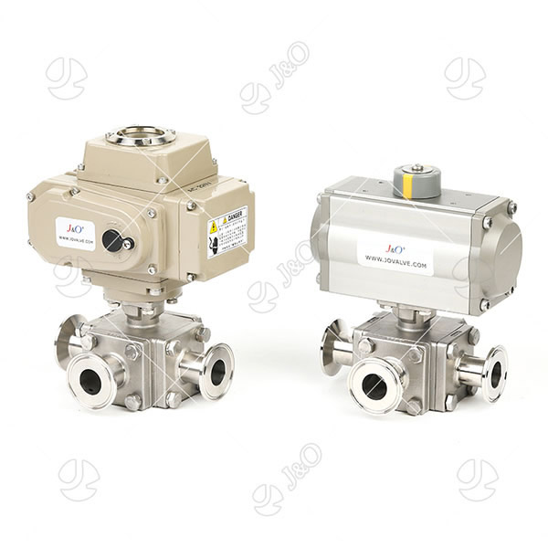 Sanitary Stainless Steel Pneumatic Electric 3 Way Ball Valve