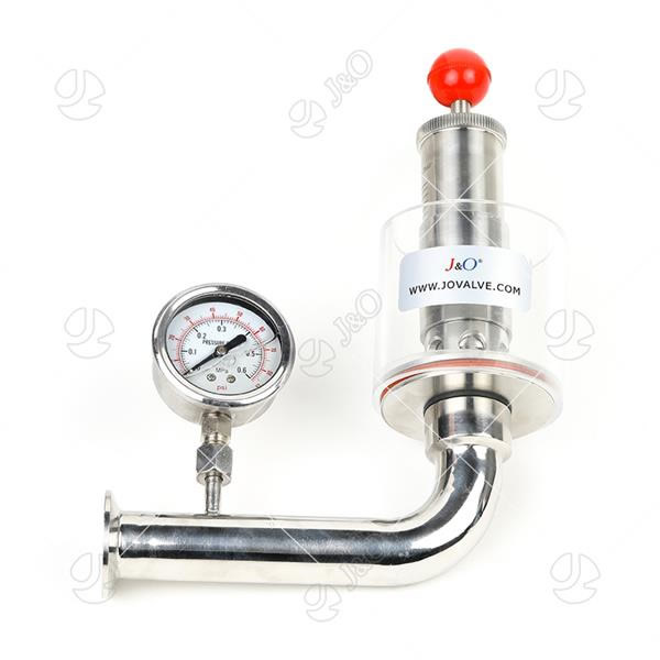 Sanitary Stainless Steel Exhaust Valve With Pressure Guage